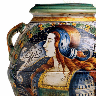 MAJOLICA: Large Tuscan Orcio with Noblewoman profile Salus Populi