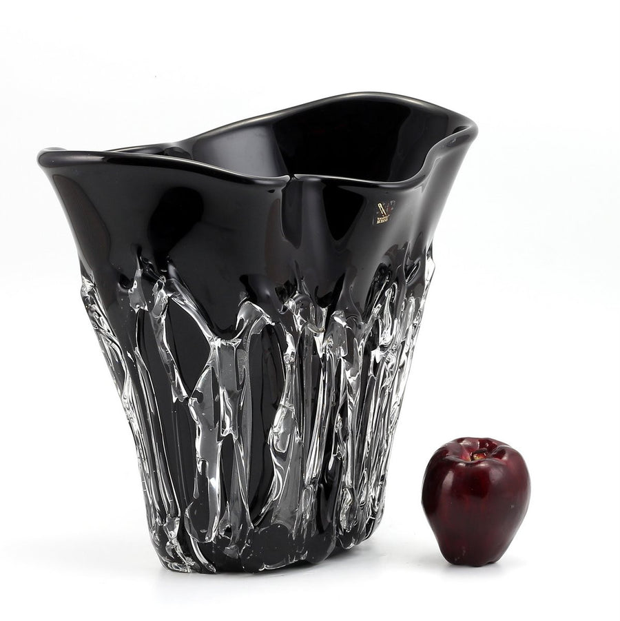 MURANO ORIGINAL: Short Vase Black Clear wavy rim smooth and textured surface