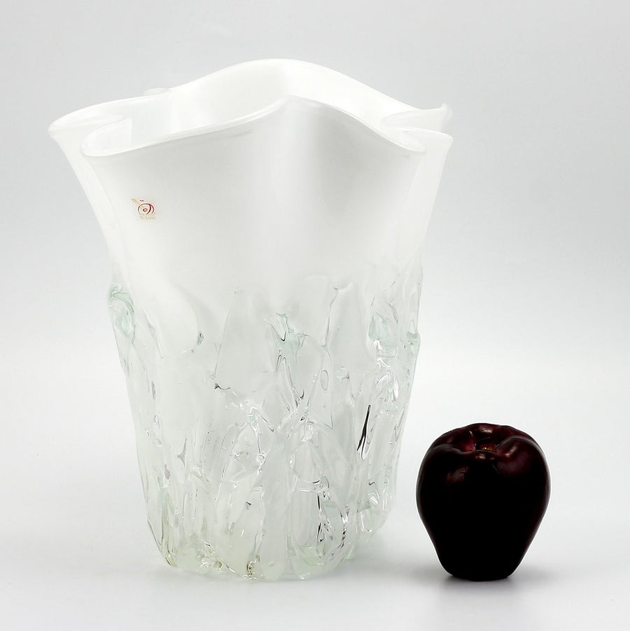 MURANO ORIGINAL: Short Vase Milk White Clear wavy rim smooth and textured surface