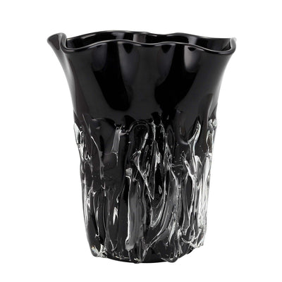 MURANO ORIGINAL: Tall Vase Black Clear wavy rim smooth and textured surface