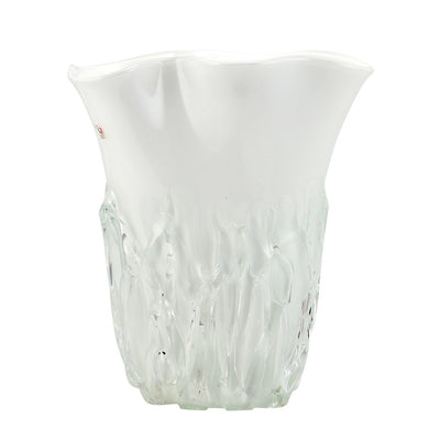 MURANO ORIGINAL: Tall Vase Milk White Clear wavy rim smooth and textured surface