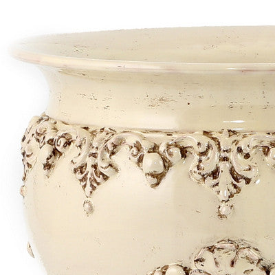 "SOFIA ANTIQUE IVORY:  Round Extra-Large Cachepot/Planter with Bass Relief Decoration (16"" Diam.)"