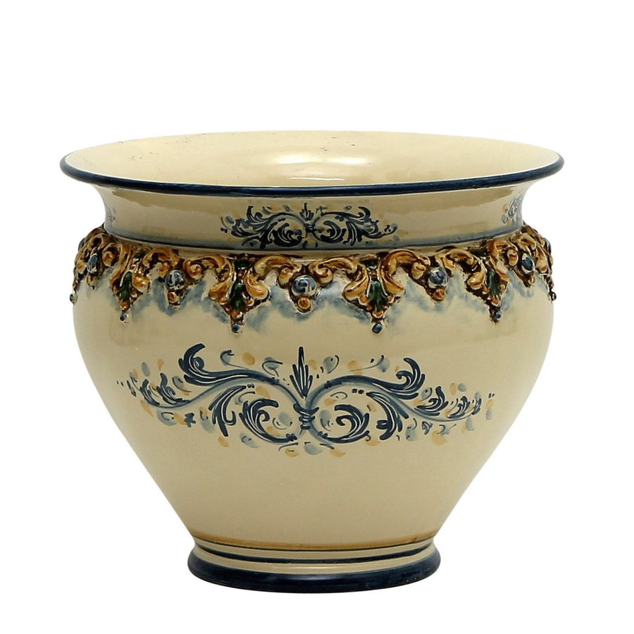 "SOFIA TRICOLORE:  Round Large Cachepot/Planter with Bass Relief Decoration (14"" Diam)"