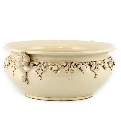 SOFIA ANTIQUE IVORY: Medium Round Centerpiece Bowl with Bass Relief Decoration