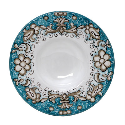 DERUTA VARIO DELUXE: Olive Oil Fancy Dipping Bowl with large rim AQUA Color