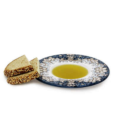 DERUTA VARIO DELUXE: Olive Oil Fancy Dipping Bowl with large rim BLUE Color