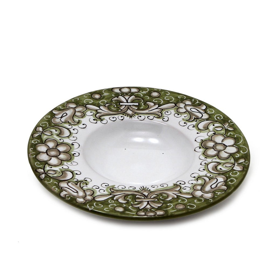 DERUTA VARIO DELUXE: Olive Oil Fancy Dipping Bowl with large rim GREEN Color