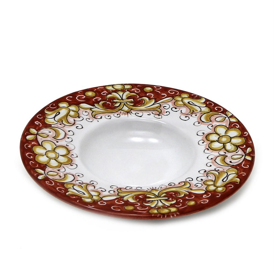 DERUTA VARIO DELUXE: Olive Oil Fancy Dipping Bowl with large rim ANTIQUE RED Color