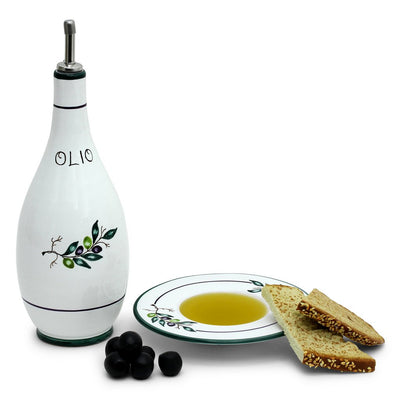 OLIVA: Olive Oil Bottle Dispenser with optional matching Saucer/Dipping Bowl