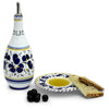 ORVIETO BLUE ROOSTER: Olive Oil Bottle Dispenser with optional matching Saucer/Dipping Bowl