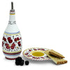 ORVIETO RED ROOSTER: Olive Oil Bottle Dispenser with optional matching Saucer/Dipping Bowl