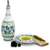 ORVIETO GREEN ROOSTER: Olive Oil Bottle Dispenser with optional matching Saucer/Dipping Bowl