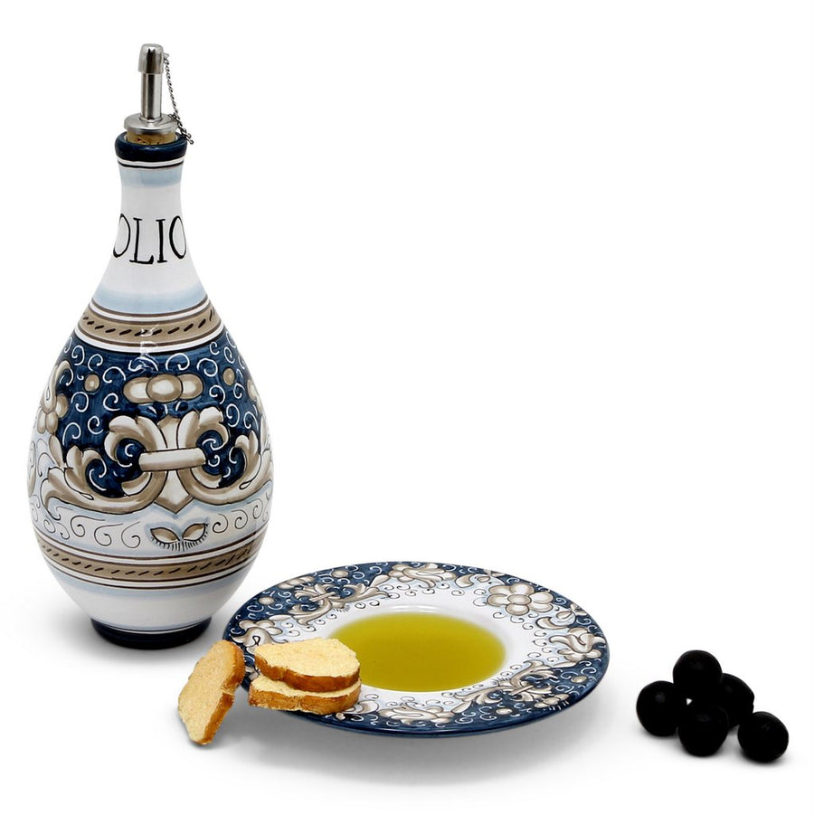DERUTA VARIO DELUXE: Traditional Olive Oil Bottle with pourer BLUE ANTICO Color