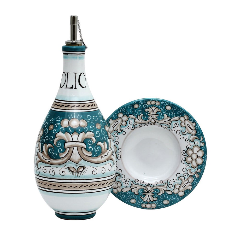 DERUTA VARIO DELUXE: Traditional Olive Oil Bottle with pourer ACQUAMARINE TEAL Color
