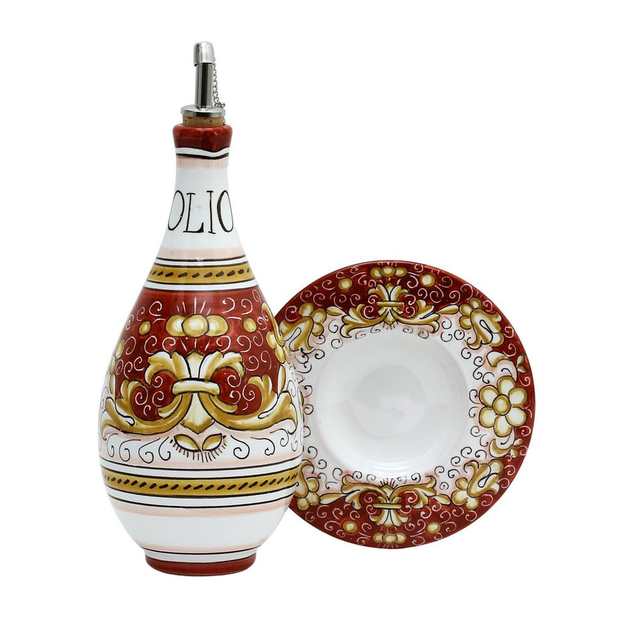 DERUTA VARIO DELUXE: Traditional Olive Oil Bottle with pourer Antique CORALLO RED Color