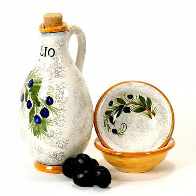 RUSTICA: Oil Cruet and two Dipping bowls (25 Diam. )
