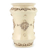 SOFIA ANTIQUE IVORY: Large Shaped Vase Umbrella Stand with Bass Relief Decoration