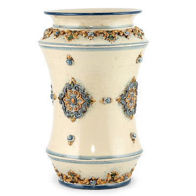 SOFIA TRICOLORE: Large Shaped Vase Umbrella Stand with Bass Relief Decoration