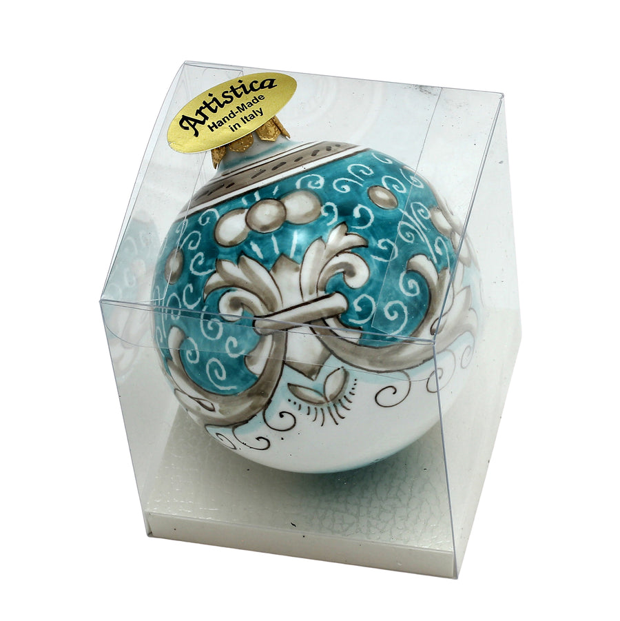 CHRISTMAS ORNAMENT: Deruta Vario Deluxe Round Ball AQUA/TEAL