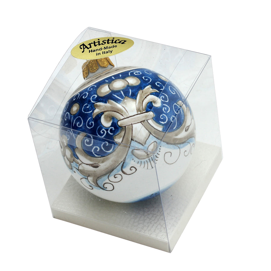 CHRISTMAS ORNAMENT: Deruta Vario Deluxe Round Ball BLUE ANTICO