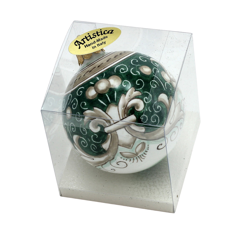 CHRISTMAS ORNAMENT: Deruta Vario Deluxe Round Ball SAGE GREEN