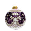 CHRISTMAS ORNAMENT: Deruta Vario Deluxe Round Ball PURPLE RUBINO