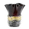 MURANO ORIGINAL: Tall Vase Dark Honey Maroon wavy rim with Gold Flakes Band