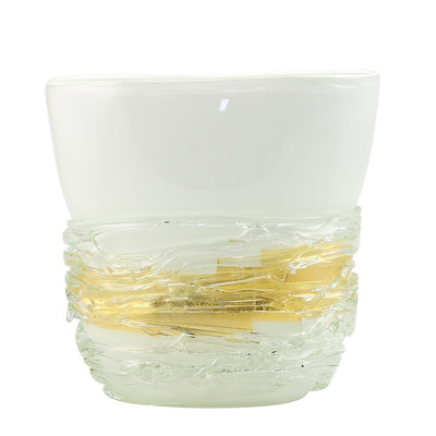 MURANO ORIGINAL: Oval Vase Milk White with Gold Flakes Band