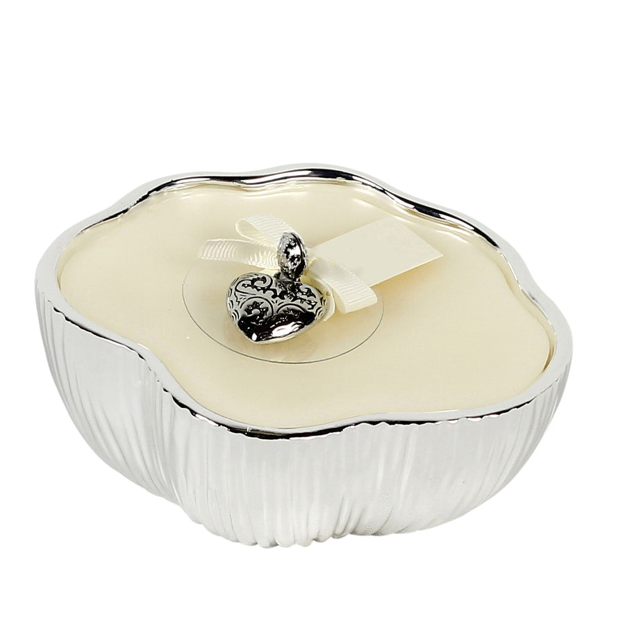 AMORE: Silver plated shaped candle ~ LINFA soothing fresh scent
