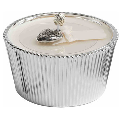AMORE: Silver plated round candle ~ LINFA soothing fresh scent