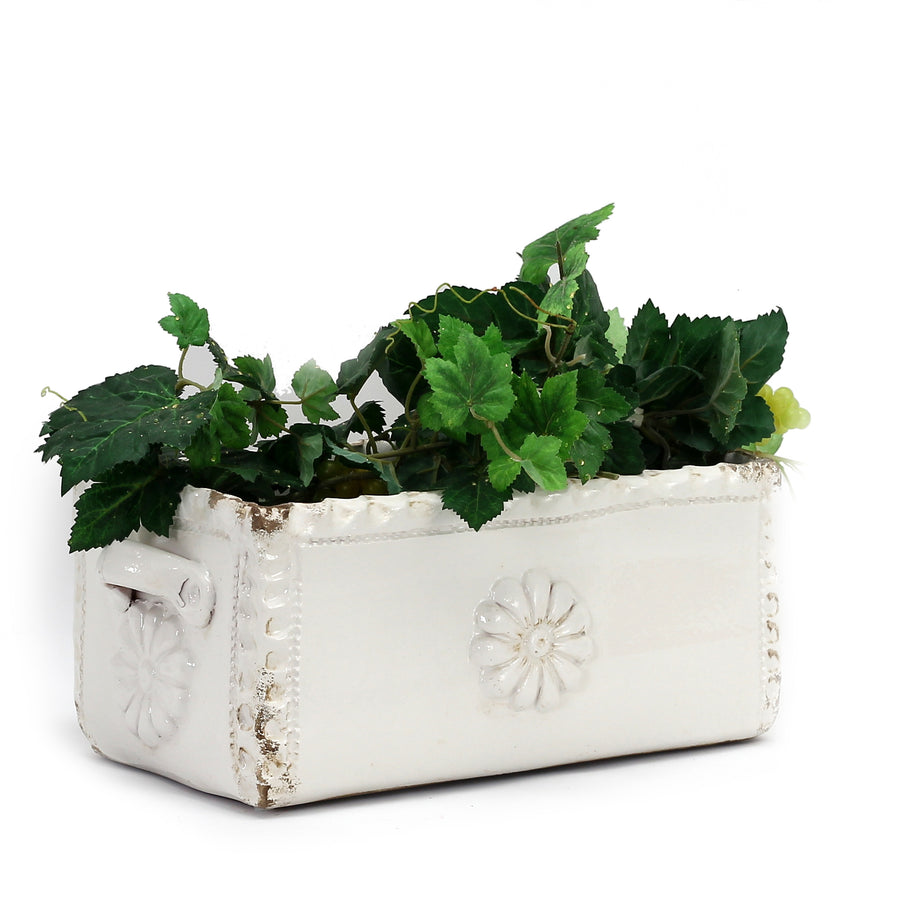 SCALLOPPED: Rectangular Planter  with Flower design