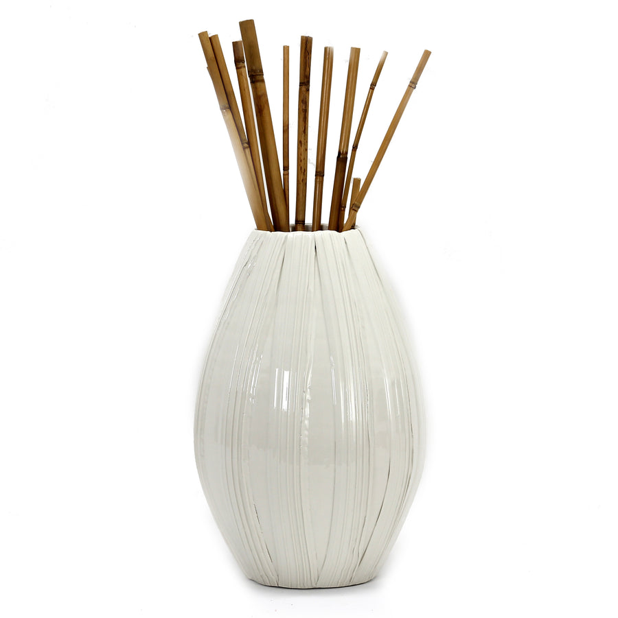 ALPINE: Olive Shaped Vase rustic hand stripes