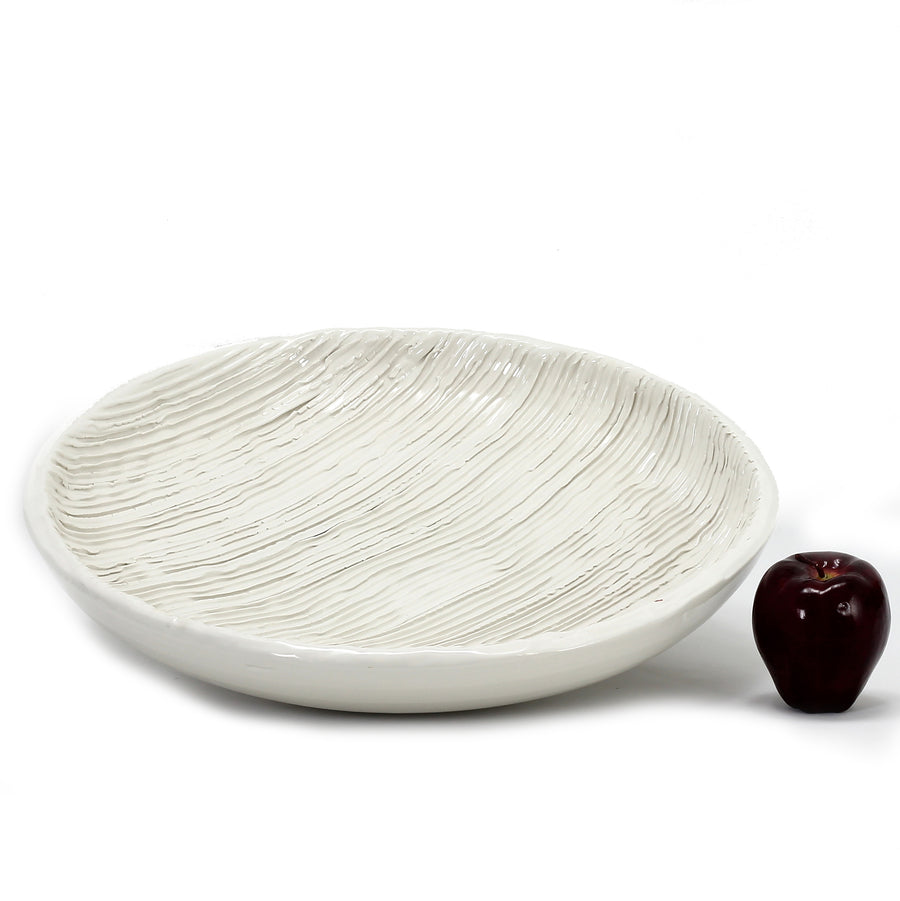 SCAVO ALPINE: Large tabletop plate-centerpiece rustic stripes
