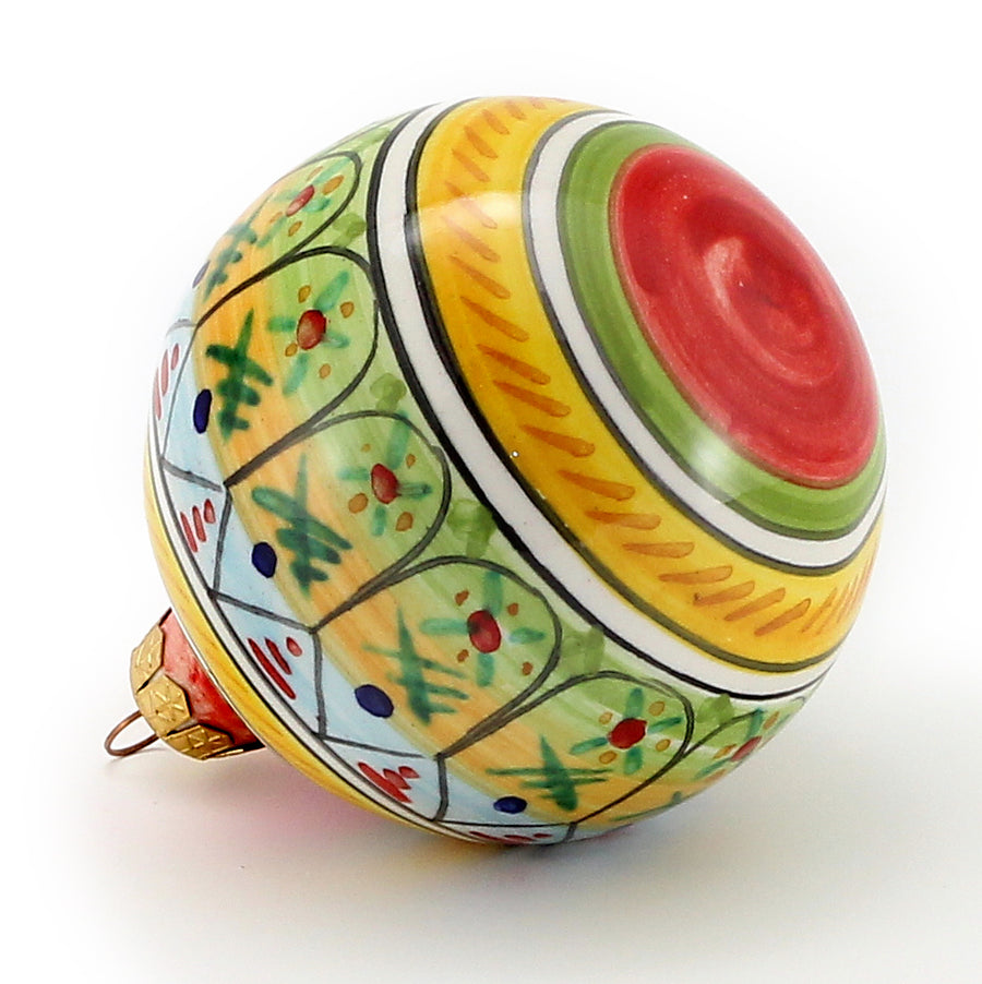 CHRISTMAS ORNAMENT: Round Ball Hand Painted Deruta by Flli Mari