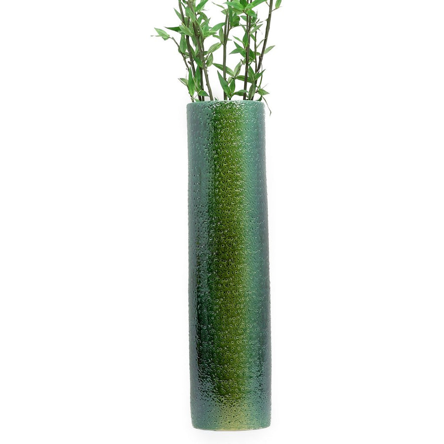 SCAVO CONTEMPO: Cylindrical Tall Vase - Shaded Green