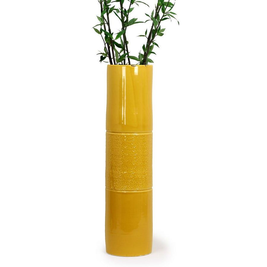 SCAVO CONTEMPO: Cylindrical Tall Vase - Yellow