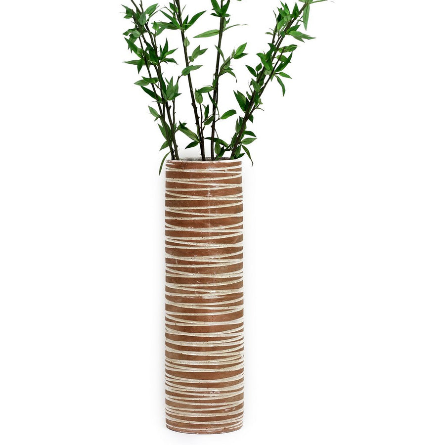 SCAVO CONTEMPO: Cylindrical Vase - NEW Terracotta with White Swirls
