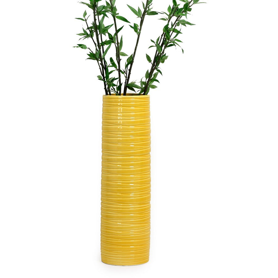 SCAVO CONTEMPO: Cylindrical Vase - Bright Yellow