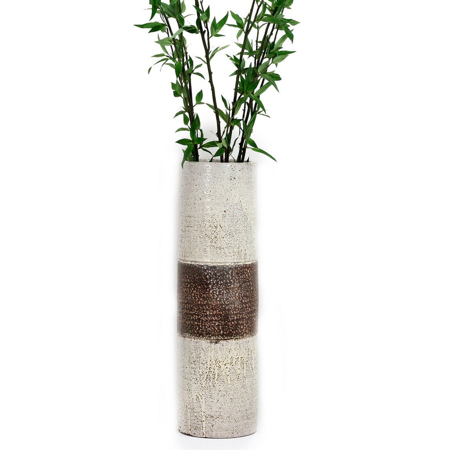SCAVO CONTEMPO: Cylindrical Vase - NEW Burnt Terracotta with SCAVO CONTEMPO White