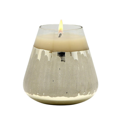 MONDIAL CANDLES: Shine Silver Design Glass Container Candle SILVER