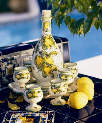 TOSCANA: Limoncello set on tray (6 cups and tray ( and ) decanter)