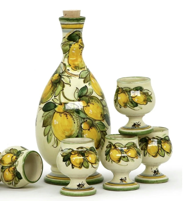 TOSCANA: Limoncello set on tray (5 Cups + and Decanter)