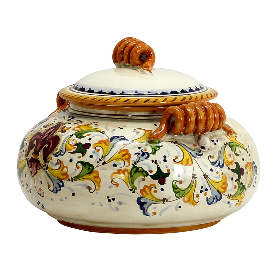 GIGLIO: Round jar with mascheroni and curled handles