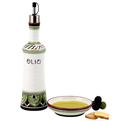 POMPEI: Olive Oil Bottle with S Steel pourer and Dipping Bowl SET