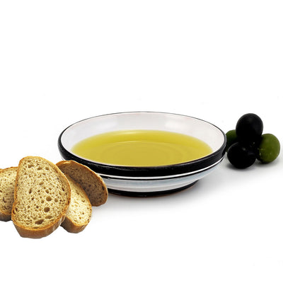 RINASCIMENTO: Olive Oil Bottle with S Steel pourer and Dipping Bowl SET