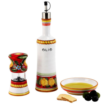 POSITANO ROSSO: Olive Oil Bottle and Dipping Bowl and Salt Pepper Mill SET