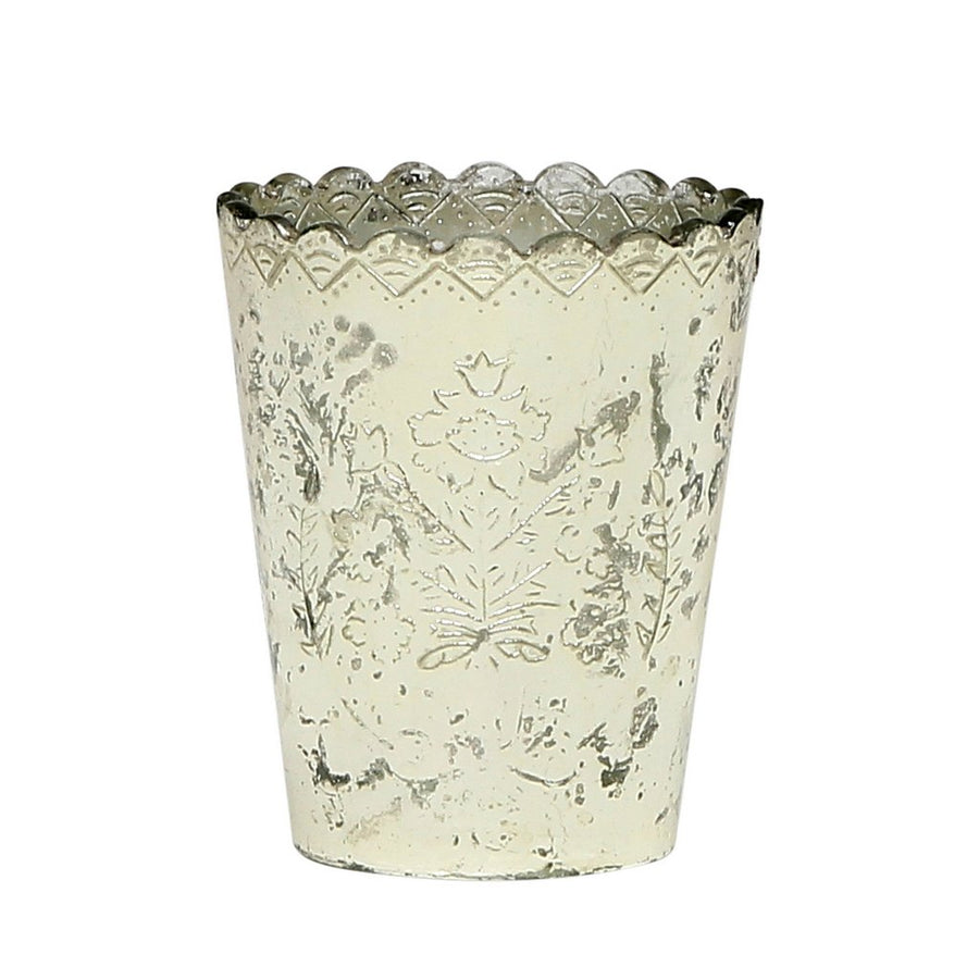 MONDIAL CANDLES: Desiray Silver Design Glass Container Candle SILVER