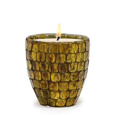 MONDIAL CANDLES: Gaudi Design Glass Container Candle GOLD