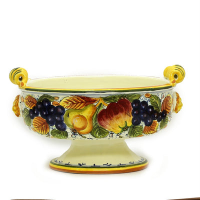 FRUTTA: Round footed bowl centerpiece with curled handles