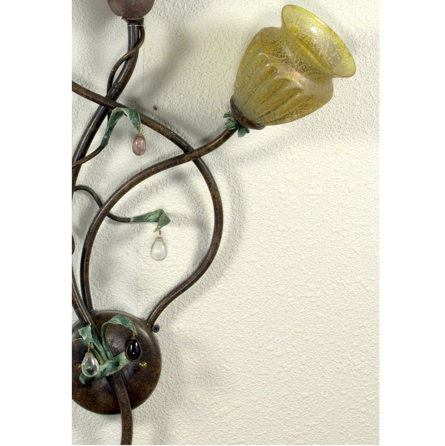 ALBA LAMP: Wall Sconce Light: Murano W Iron Hand Painted Gold Leaf